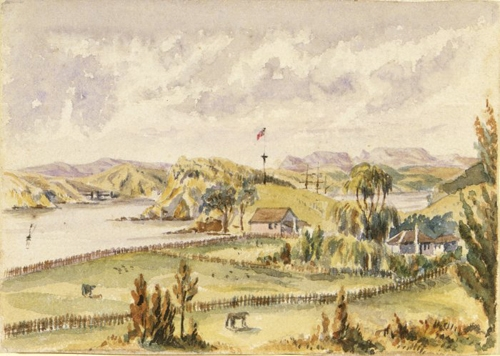 Williams House Paihia - water colour painting by Thomas Hutton showing Horotutu in 1859