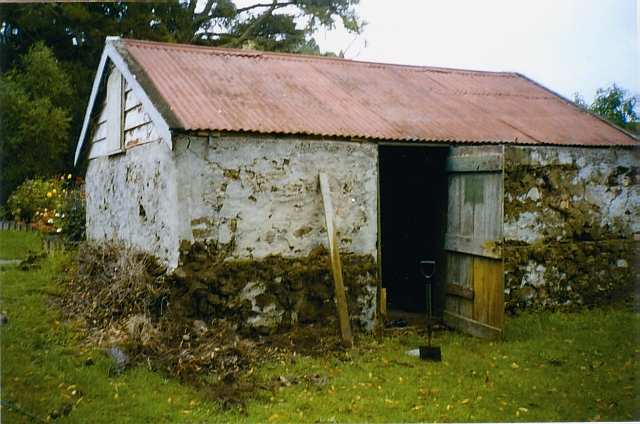 Williams House Paihia - a view from the north side of the stone shed in 2005