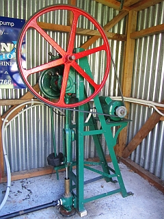 Williams House Paihia - view of the reconditioned water pump in the pumphouse
